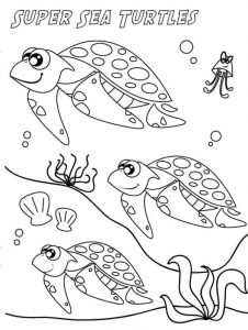Sea turtles sea life coloring pages