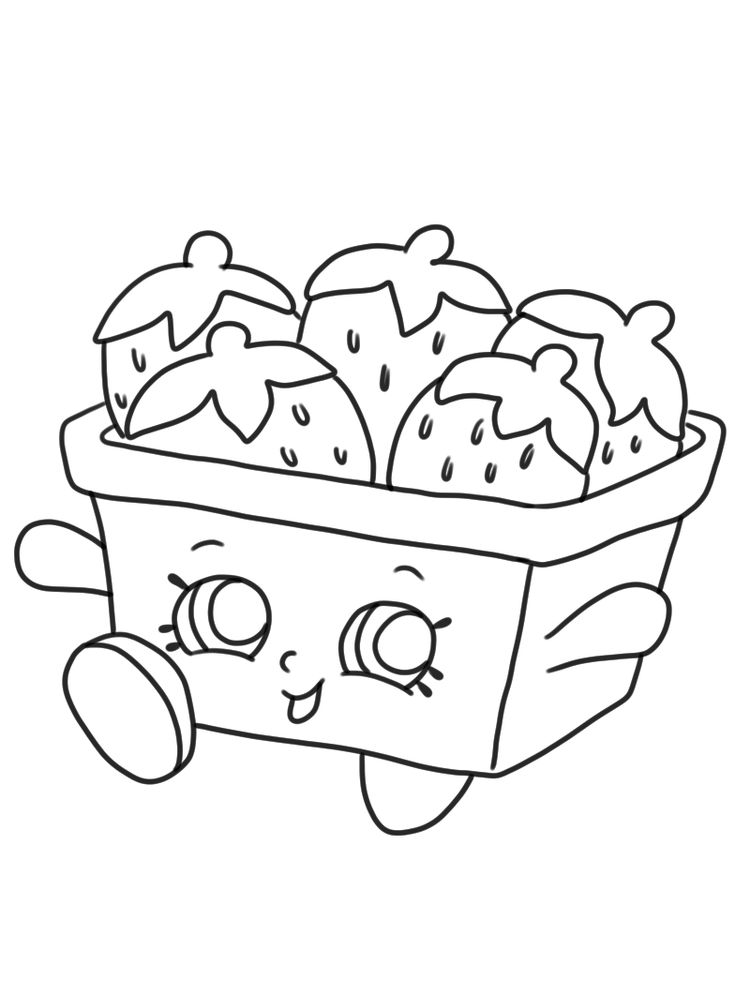 Shopkins coloring page strawberry top free