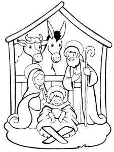 Simple Nativity Scene Coloring Pages