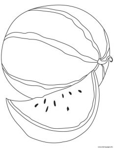 Simple Watermelon Fruit Coloring Pages Printable