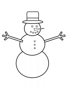 Snowman Coloring Page For Preschool
