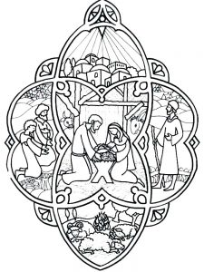Stained Glass Nativity Scene Coloring Pages