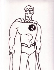 Superhero robin coloring pages