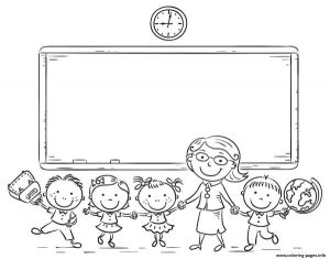 Teacher And Kids Back To School Coloring Pages Printable