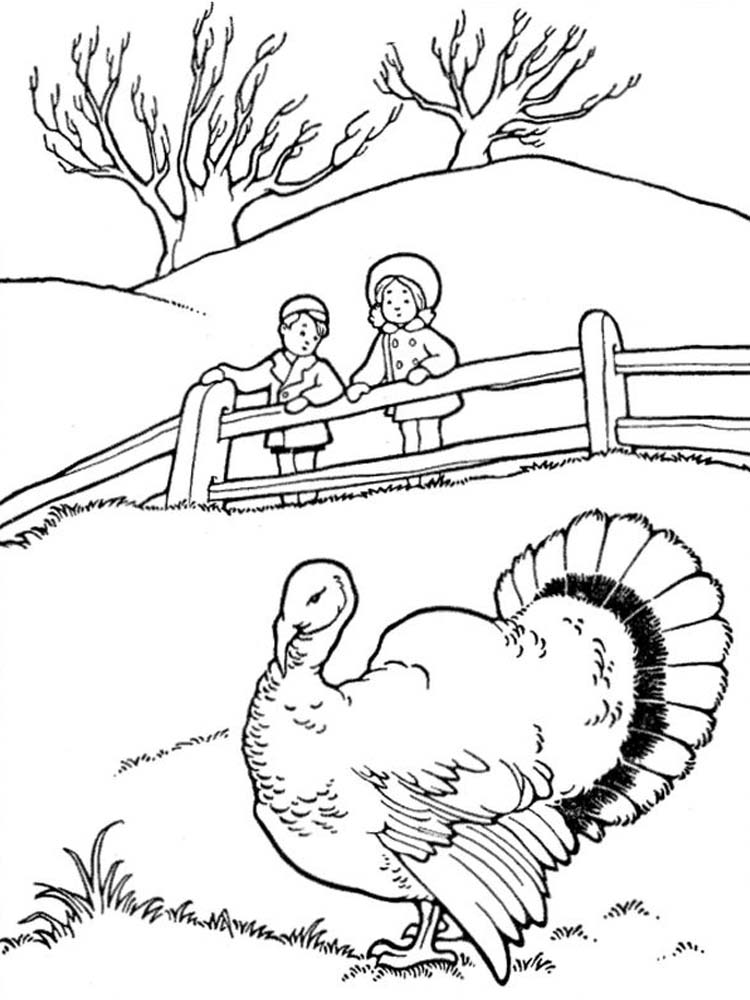 Thanksgiving Turkey Cartoon Coloring Pages