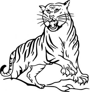 Tiger Roaring Coloring Page