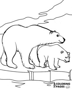 Two Beautiful Polar Bears In Arctics Printable Coloring Page