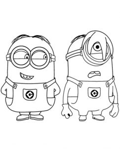 Two Minions Printable Coloring Page To Print For Free