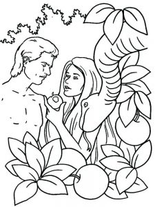 adam and eve coloring page for kindergarten free