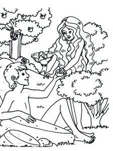 adam and eve coloring page kindergarten