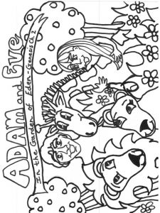 adam and eve free colouring pages