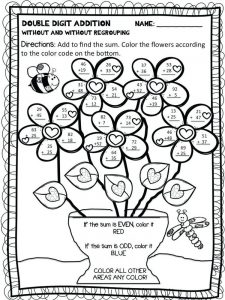 addition worksheets coloring pages