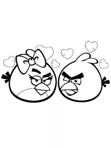 angry bird coloring pages in love