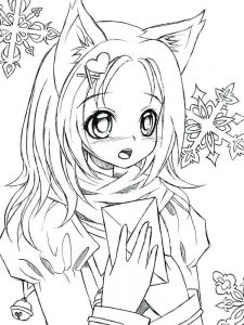 anime animal girl coloring pages