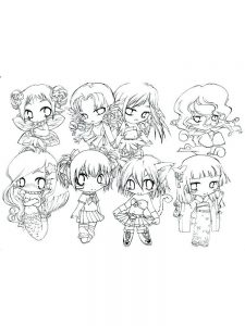 anime characters coloring page