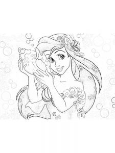 ariel coloring in pages