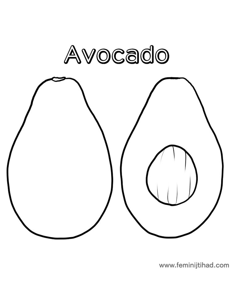 avocado coloring page