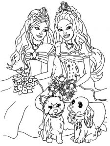 barbie and princess coloring pages