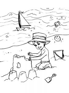 beach coloring pages easy