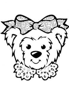 bear face coloring page for kids
