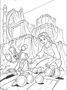 beauty and the beast coloring pages rose