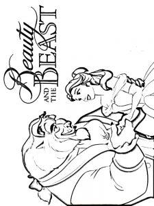 beauty and the beast easy coloring pages
