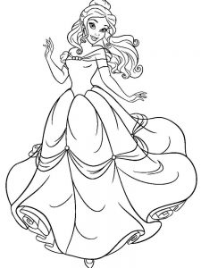belle dress coloring page easy