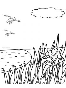 bird hunting coloring pages free