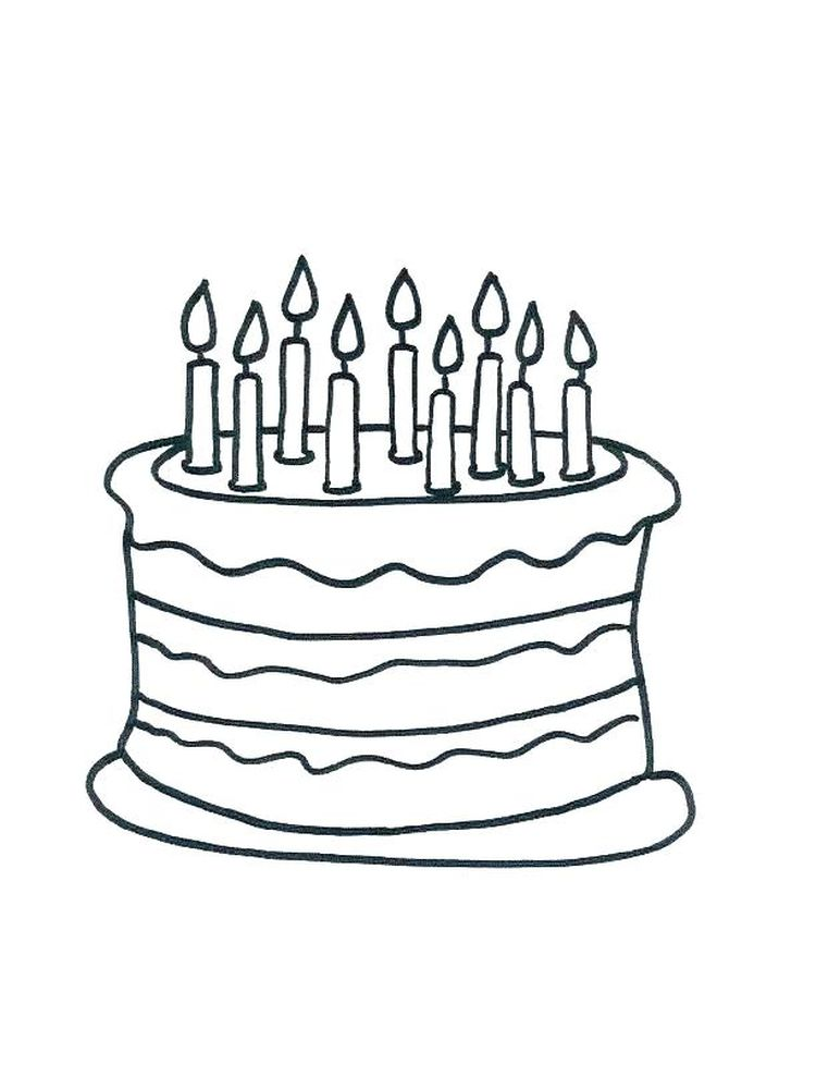 birthday cake card coloring page