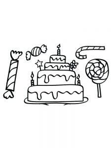 birthday cake coloring page with no candles
