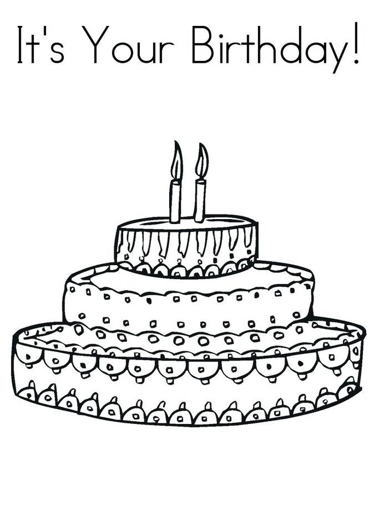 birthday cake colouring in pictures