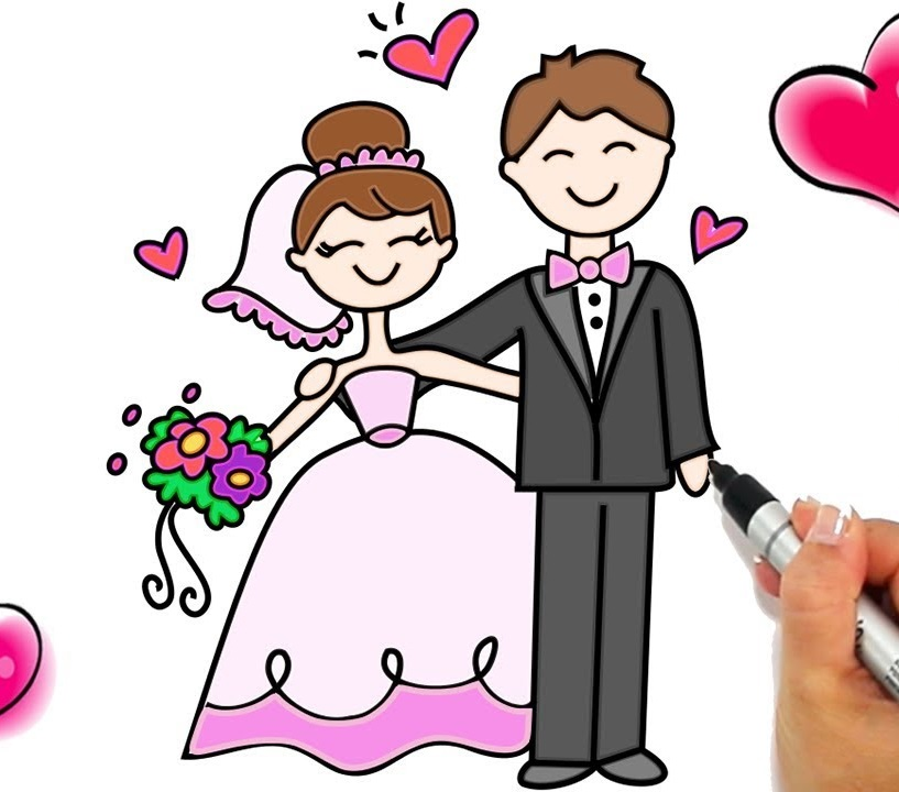 bride and groom coloring book pages free