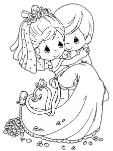 bride and groom coloring book pages to print