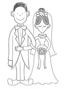 bride and groom coloring pages image