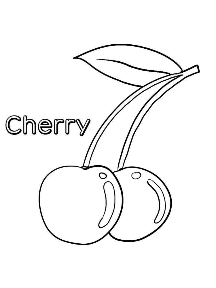 cherry coloring page print