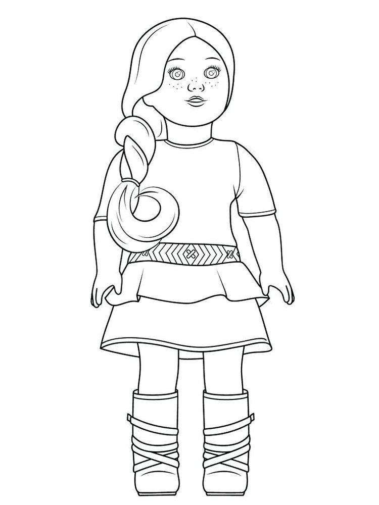 coloring page of a doll