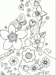 coloring pages for spring flowers pdf