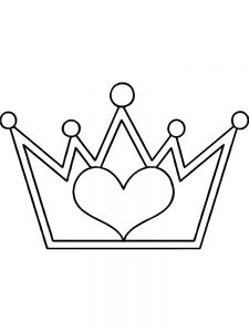 coloring pages heart crown