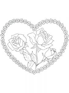 coloring pages hearts and flowers