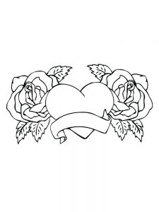 coloring pages hearts and roses