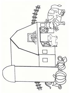coloring pages of a barn