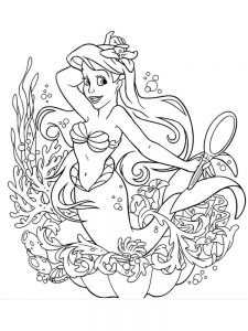 coloring pages of ariel and her sisters