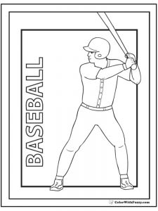 coloring pages of baseball bat and ball