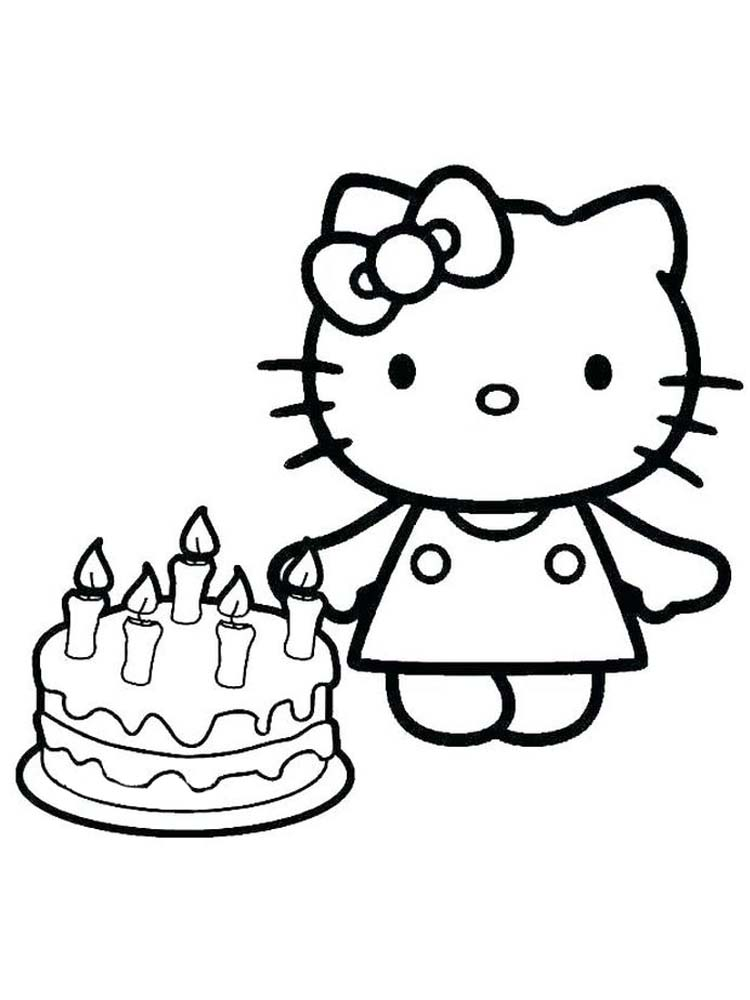 coloring pages of birthday cake hello kitty