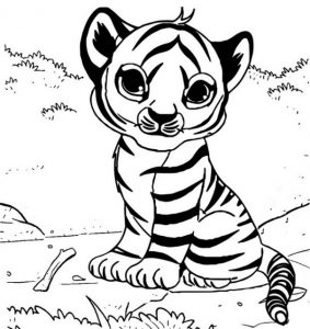 cute baby tiger coloring page