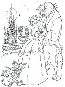 cute beauty and the beast coloring pages