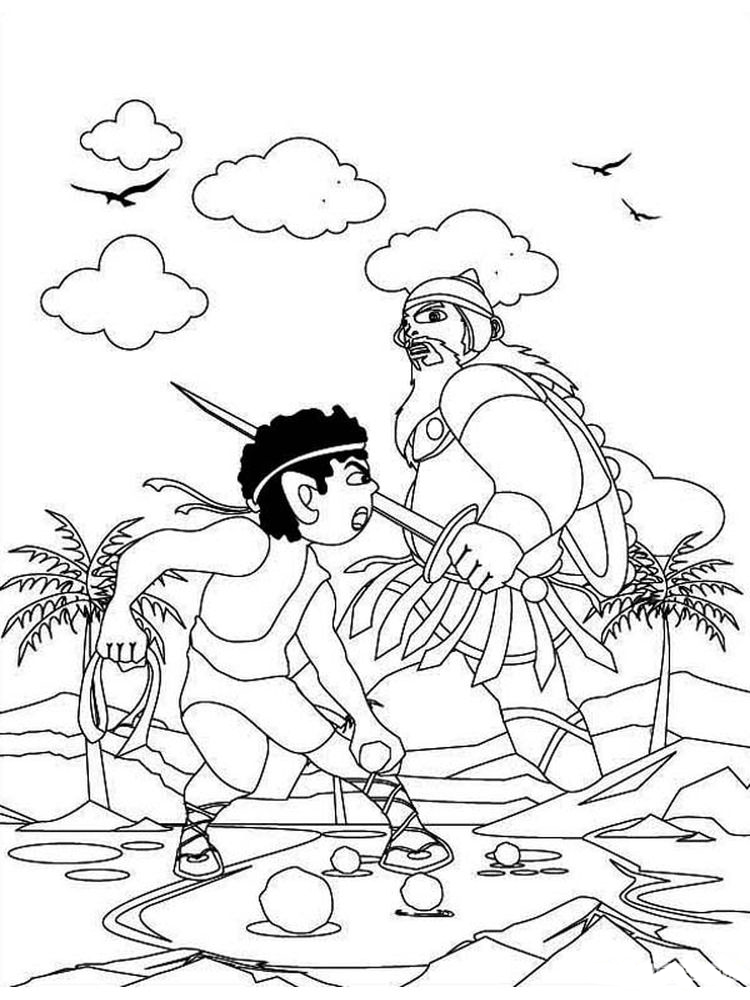 david and goliath coloring pages new