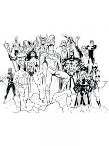 dc super heroes coloring pages free