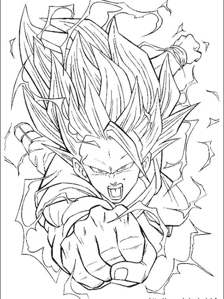 dragon ball z colouring in pictures