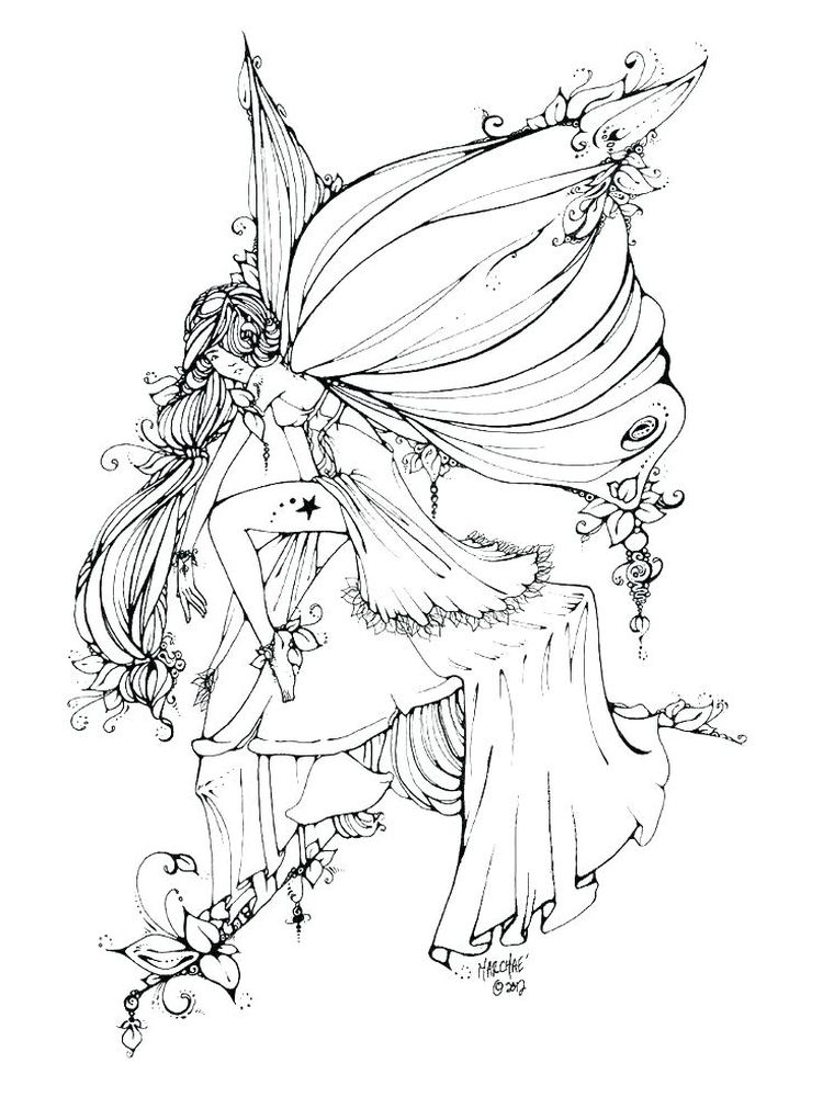 fairy coloring book pages for adults